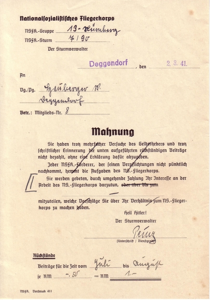 Nsfk Mahnschreiben Victor Gross Military Antiques